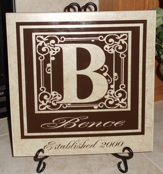 "12"" x 12"" Monogram Tile with Year Established"