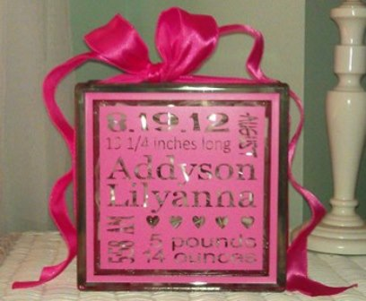 Personalized Baby Glass Block
