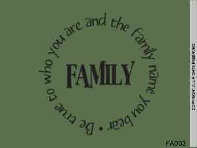 Family  Be true to who you are and the family name you bear