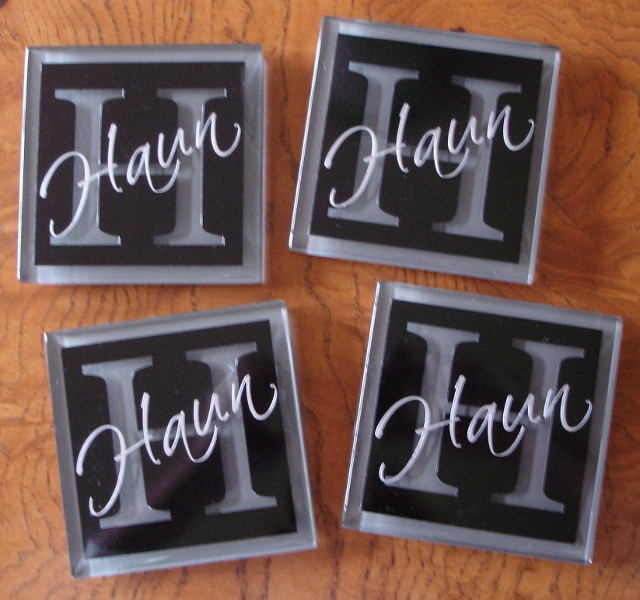 """Contemporary Initial"" and Last Name  Coasters"