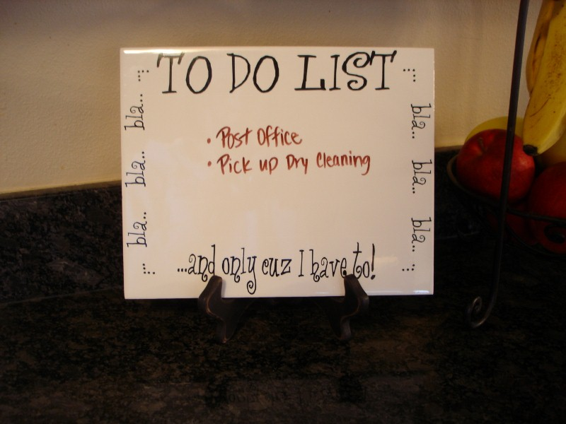 "8"" x 10""    'To Do List'   Dry Erase Board"