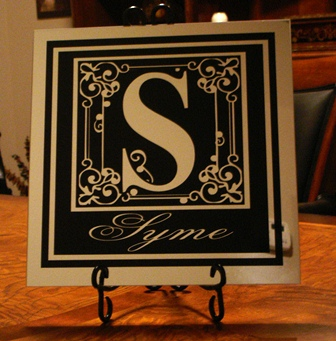 "12"" x 12"" Black Vinyl on Mirror Tile"
