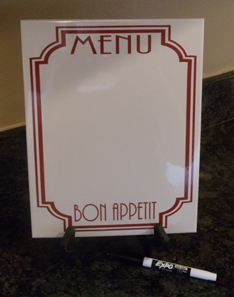 "8"" x 10"" MENU  - Dry Erase Board"