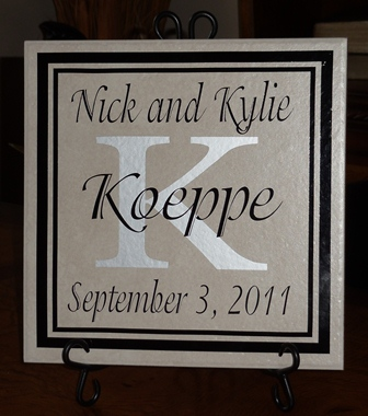 "12"" x 12""  Black and Silver Wedding Tile"