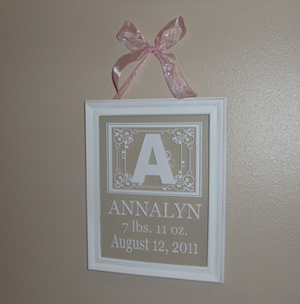 Baby Monogram Picture Frame