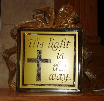 His light is the way - Glass Block