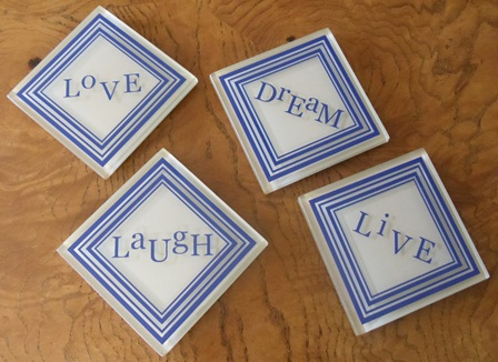 Live - Love - Laugh - Dream BLUE and TAN Coasters