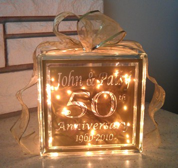 50th Anniversary Glass Block