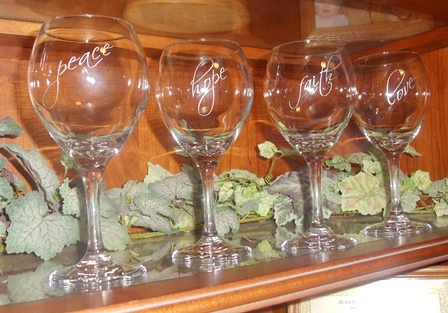 Love, Hope, Faith and Peace Wine Glasses