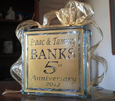 Anniversary Glass Block