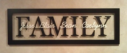 "12"" x 36"" Large FAMILY NAME Picture Frame"