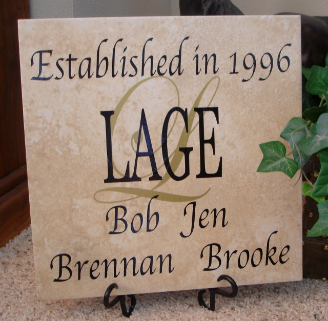 "12"" x 12"" Family Name, Initial, Each Person's Name and Year Established Tile"