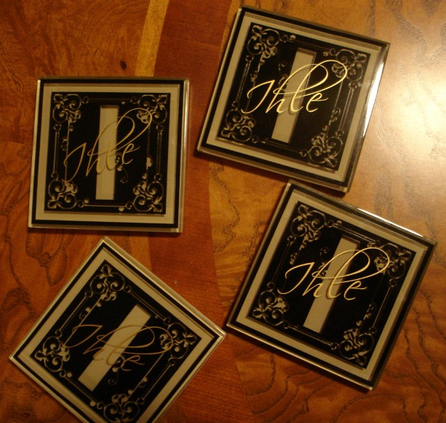"""Decorative Monogram""  -  Initial Coasters with Last Name"