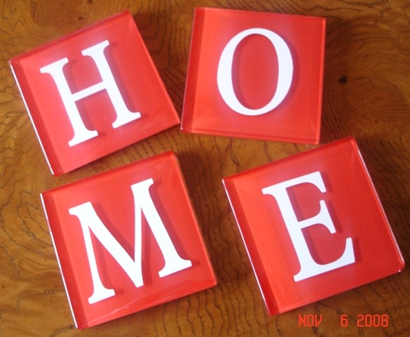 """H-O-M-E"" Red Vanitian Glass Tile Coasters"