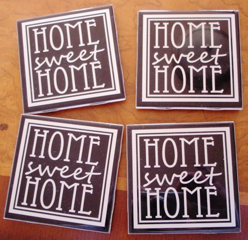"""Home Sweet Home"" Black Tile Coasters"