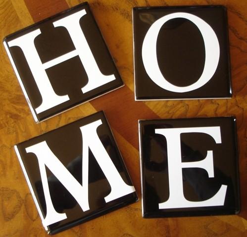 """""""H-O-M-E""""  Black Tile Coasters"""