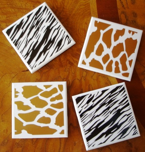 """Safari""  Zebra and Girraffe White Tile Coasters"