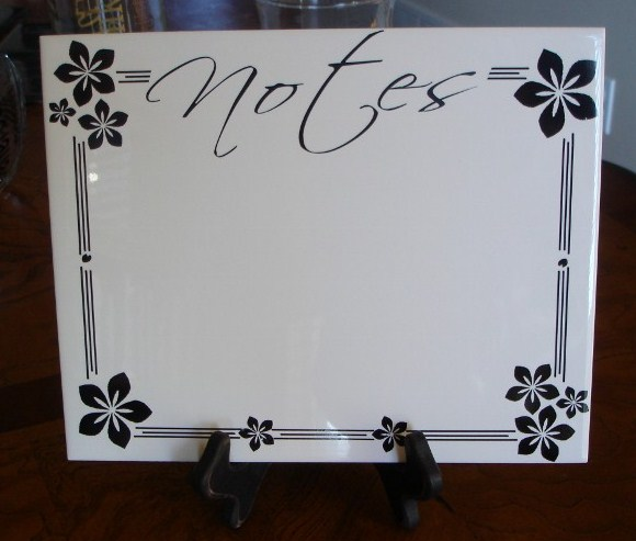 "8"" x 10""  ""NOTES"" Dry Erase Board with Black Flower Design"