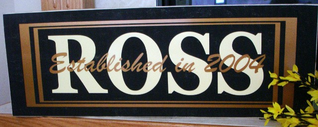 Large Wooden Plaque with Family Name