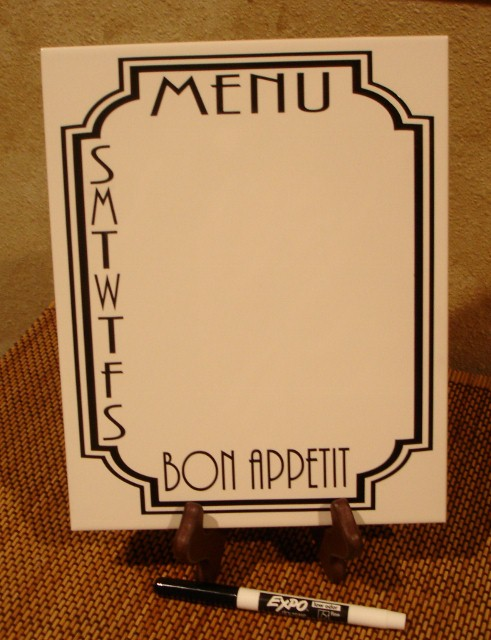 "8"" x 10"" ""MENU"" Dry Erase Board"