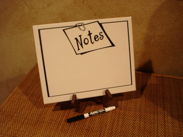 "8"" x 10"" ""NOTES with Paper Clip""  Dry Erase Board"