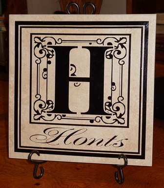 "12"" x 12"" Reversed Black Monogram Tile"