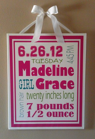 Baby Girl Subway Art Canvas