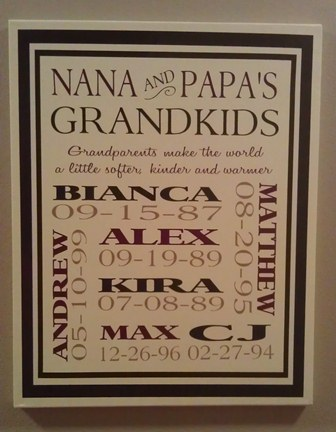 Nana and Papa's Grandchildren Canvas
