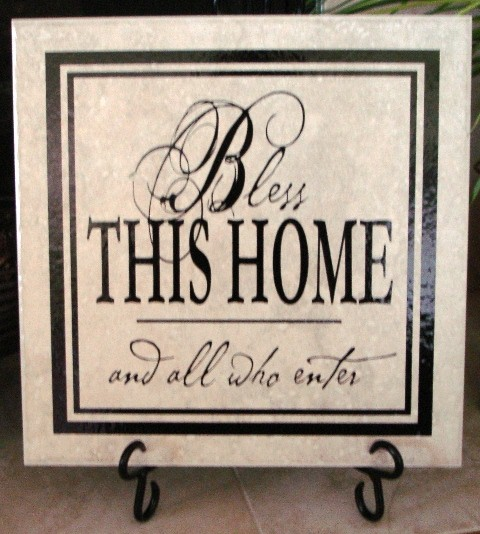 "12"" x 12""   'Bless This Home' Tile"